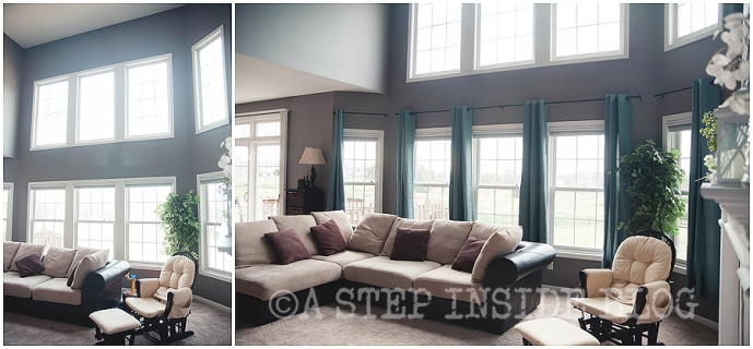 curtains in family room, before & after » a step inside