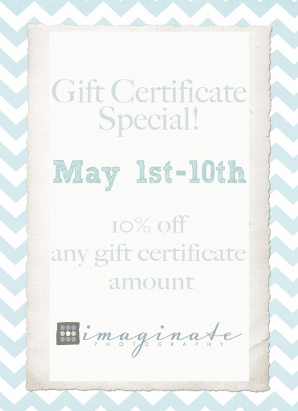 MAY Gift Certificate Special